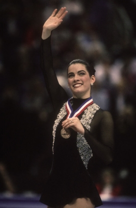 8 Feb 1993: Nancy Kerrigan (USA) with the medal she won for first place at the 1993 U.S. Figure Skat
